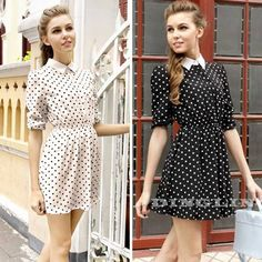 Hot Fashion Vintage Women Pointed Collar Polka Dot Print Elastic Casual Party Swing Dress White Black Size S Free Shipping 1022 $9.86