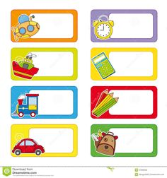 Photo about School labels. Stickers transport and objects for school. Illustration of icon, album, icons - 31966036 School Name Labels, Name Tag For School, School Frame, Printable Name Tags, Free Printable Stickers, Printable Labels, Notebook Labels, Subject Labels, Free Label Templates