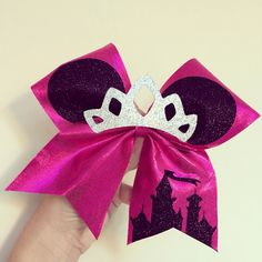 Princess Minnie Mouse Glitter tiara Cheer Bow Disney Castle pink spandex by TalkToTheBow on Etsy https://www.etsy.com/listing/210155088/princess-minnie-mouse-glitter-tiara