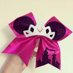 Princess Minnie Mouse Glitter tiara Cheer Bow Disney Castle pink spandex by TalkToTheBow on Etsy https://www.etsy.com/listing/210155088/princess-minnie-mouse-glitter-tiara