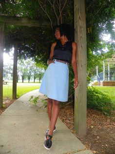 Denim on Denim A-Line Skirt: How to draft & sew curved inset pockets