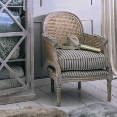 Corine Cane Armchair - Natural Linen - Armchairs - Seating - Sofas & Seating