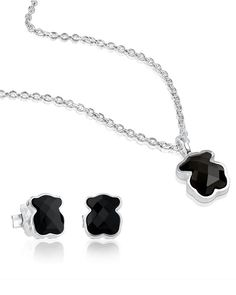 "Tous Sterling Silver Teddy Bear Necklace & Earrings Set Made in Spain Necklace: 18""L, spring ring closure, 0.4""L pendant Earring: 0.4""L, post backs Sterling silver/onyx or Mother of Pearl Ph"