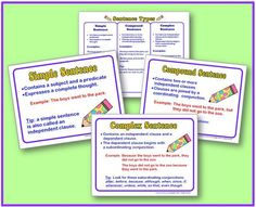 FREE sentence types posters and handout for simple, compound, and complex sentences.I'm going to reduce the size of these posters for student notebooks. Teaching Grammar, Teaching Language Arts, Classroom Language, Teaching Writing, Teaching Ideas, Teaching English, Learn English, 6th Grade Ela, 4th Grade Writing
