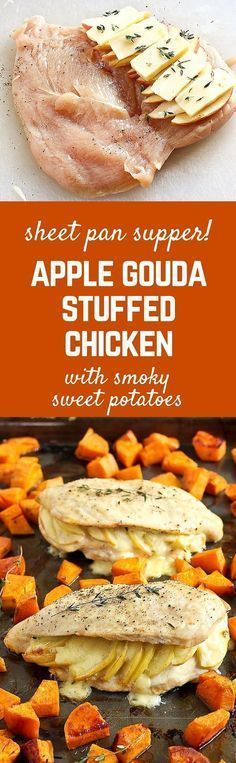 Creamy Gouda cheese and sweet apples make these stuffed chicken breasts a winner! Pair with smoky roasted sweet potatoes for a sheet pan supper that will make everyone happy. Get the easy chicken recipe on http://RachelCooks.com!