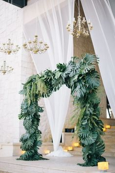 Tropical Wedding Arch With Palms for a Destination Wedding Wedding Ceremony Decorations, Ceremony Backdrop, Wedding Themes, Wedding Arches, Themed Weddings, Arco Floral, Floral Arch, Trendy Wedding, Wedding Day