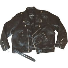 Pre-owned Unik 90s Leather Black Jacket (3.450 UYU) ❤ liked on Polyvore featuring outerwear, jackets, tops, coats, black, genuine leather jackets, real leather jackets, leather jackets and 100 leather jacket