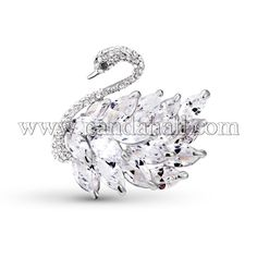 SWEETIEE® Trendy Platinum Plated Alloy Safety Brooch, Micro Pave AAA Cubic Zirconia Swan, Clear Size: about 44mm wide. Priced per 1 pcs