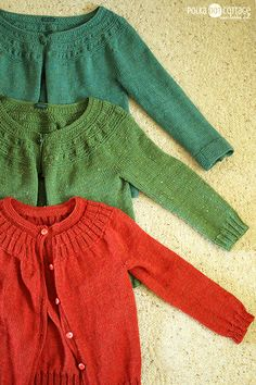 Top down, round yoke cardigan. Maybe this will help me calculate the finished neck on my 2+ year sweater.
