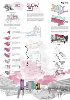 Top Three Winners of the International Gastronomic Center Brussels Competition 2013 Second Prize: Enrique Alonso Blanco, Patricia Ocaña Alcober, Paula Peña Toril (Escuela Técnica Superior de Arquitectura of Madrid, Spain) Presentation Board Design, Architecture Presentation Board, Project Presentation, Architectural Presentation, Interior Presentation, A As Architecture, Architecture Graphics, Futuristic Architecture, Sustainable Architecture