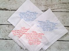 Personalized Embroidered Wedding Handkerchiefs by HeatherStrickland on Etsy