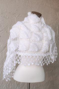 White Shawl / Wedding / Bridal Accessories / Bridal by MODAcrochet, $89.00