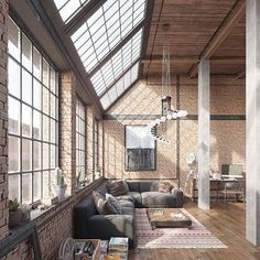 I love loft design and will do a lot in my future as an architect . - Garden decoration - I love loft design and will do a lot in my future as an architect … - Industrial Interior Design, Industrial Interiors, Industrial House, Decor Interior Design, Interior Lighting, Room Interior, Industrial Bedroom, Modern Industrial, Industrial Stairs
