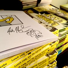 There have been inquiries for larger orders of signed Lunch Lady books for School Lunch Hero Day. Odyssey Bookshop is my local indie, and they would be more than happy to help you! You can call the store at 413-534-7307 and ask for Niki, the head of the children's book department. Orders would need to be made by end of business day on Thursday for books to arrive in time for May 1st. Thanks!