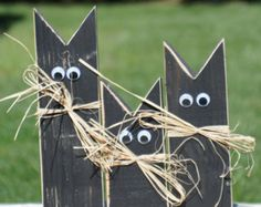 Rustic Halloween Black Cat, Pumpkin, Ghost Shelf Sitter, Primitive Halloween…