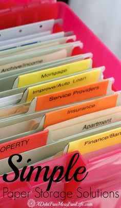 These simple paper storage solutions will have you winning over your filing system. Everything organized!