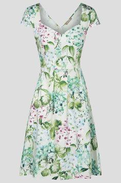 Vzorované šaty se srdíčkovým výstřihem - Bílý