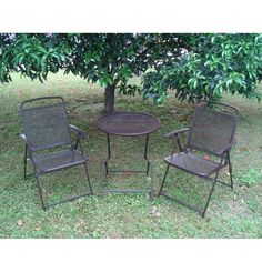 Bistro Patio set 3pc Folding Table/Chair Outdoor Furniture Wrought Iron CAFE set $149.00  - Patio Table - Ideas of Patio Table #PatioTable