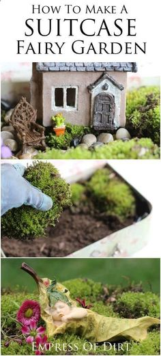 How to make a SUITCASE fairy garden - give those wee folk a place to live and play! Great beginner garden project to do with kids. #fairygarden #spon