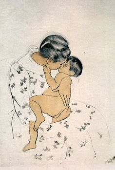 "Mary Cassatt  ""Mother's Kiss""  Soft Ground Etching and Aquatint on Laid Arches Paper  1891"