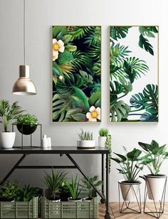 2 Panel Tropical Leaves and Floral Extra Large Canvas Print Art- Framed Print- Multiple Canvas Wall Art- Ready to Hang- Bespoke Custom Size Estilo California, Rooms Home Decor, Room Decor, Room Art, Deco Jungle, Tropical Wall Decor, Tropical Furniture, Tropical Interior, Herb Garden Design