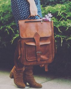 """Small Leather Backpack 14"""""""