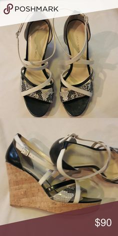 Carmen Marc Valvo Wedges Sz 8 Snake skin, tan and black strappy Carmen Marc Valvo Shoes Wedges