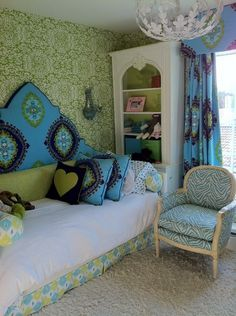Green Wallpaper Painting and Blue Curtains with Modern Sofa in Small Bedroom Interior Design Ideas