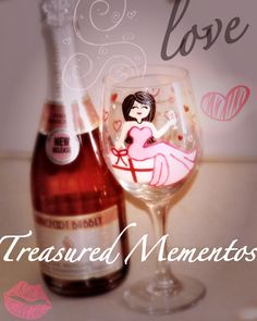 Custom Hand painted Wine Glass: Facebook-Treasured Mementos or TreasuredMementos.com :0)