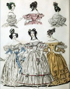 Very late Regency fashion of 1836: Plate No 2 - morning and evening dresses by CharmaineZoe, via Flickr