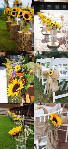Rustic Fall Aisle Wedding Decoration Ideas with Sunflowers