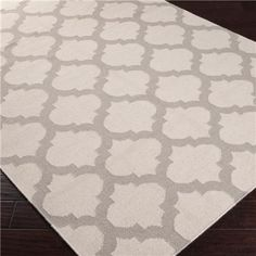 Ironwork Trellis Dhurrie Rug: 6 Colors.  Gray for the dining room.