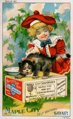 Vintage Trade Cards | Maple City Self Washing Soap, Trade Card, ca. 1895 , originally ...