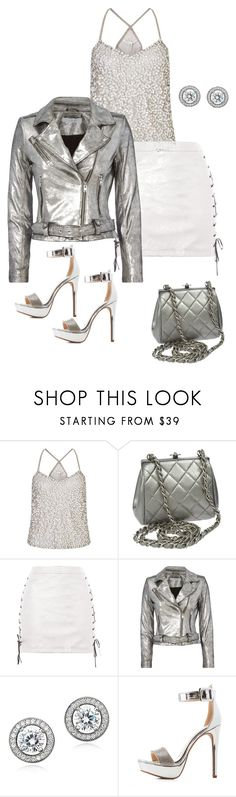 """Silver"" by angelnmila ❤ liked on Polyvore featuring Miss Selfridge, Chanel, Topshop, Alexander Wang, Crislu and Qupid"