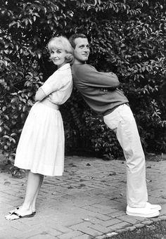 Paul Newman & Joanne Woodward, outside their home, 1960's.