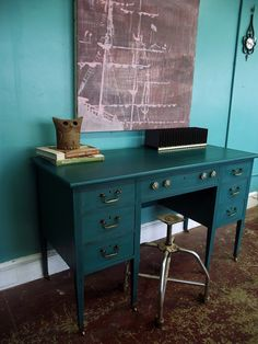 Vintage Ground: Antique Deep Teal Desk Notice how well the desk color goes with the wall color. Turquoise Painted Furniture, Teal Furniture, Furniture Vanity, Furniture Projects, Furniture Makeover, Desk Makeover, Refinished Furniture, Painting Furniture, Office Furniture