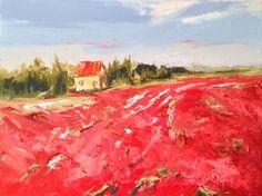 Poppy fields, Oil, 12x16, palette knife painting