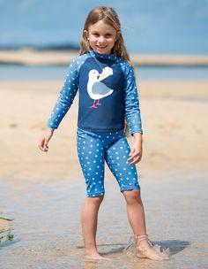 Sun-safe set made with UPF Oeko-Tex approved fabric and soft mesh lining. Marine Blue, Blue Polka Dots, Next Uk, Uk Online, Wetsuit, Marie, Vest, Organic, Swimwear