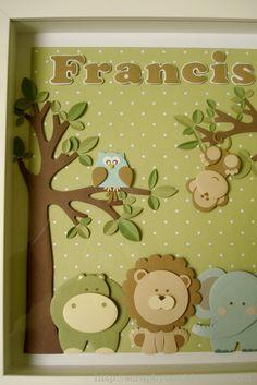 Quadrinho 'jungle' para o Francisco! Faz de conta que a foto tá boa, sem reflexook? ownnnn,gostei demais da corujinha e do macaquinho em p... Baby Crafts, Felt Crafts, Diy And Crafts, Crafts For Kids, Paper Crafts, Baby Room Diy, Baby Room Decor, Lion Party, Felt Bookmark