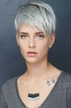 Icy Short Pixie Cut - 60 Cute Short Pixie Haircuts – Femininity and Practicality - The Trending Hairstyle Grey Curly Hair, Grey Wig, Curly Hair Styles, Ash Grey, Lilac Grey Hair, Long Gray Hair, Blonde Hair, Short Pixie Haircuts, Pixie Hairstyles