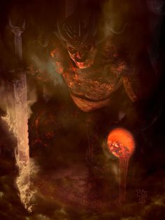 Surtr was the first being that existed. While training with the flame-sword Surtalogi, the fire fell through Niflheim's glaciers and created the primal Rime-Giant Ymir and the cow Audhumla.  Surtr was the ruler and guardian of the fire-world Muspellheim and the Fire-Giants.  At the time of Ragnaroek, he will  lead an army of fire beings to the asgardian battlefield. The rainbow bridge Bifrost will break, fire will be brought to all nine worlds and gods, men and animals will burn to ashes.
