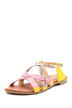 {Pinky Hilda Open Toe Strappy Sandal} yellow + pink are so good together :)