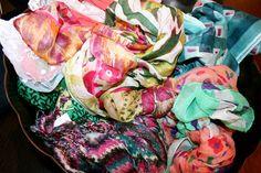 Match a scarf to bright colored denim.
