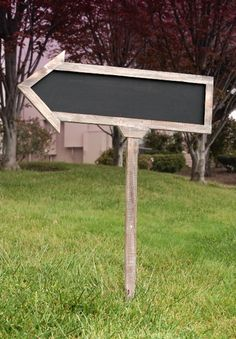 Double sided  Wood Framed Blackboard Arrow with Stake....so many possibilities!. REUSABLE!  weddings, birthdays, church events, yard sales.(website wouldn't post)