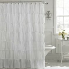 Frilly white shower curtain at BB