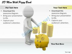 1813 3D Man with Piggy Bank Ppt Graphics Icons Powerpoint #Powerpoint #Templates #Infographics