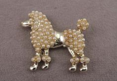 Gold Tone and Faux Pearl Poodle Pin 1960-70s by thejeweledbear on Etsy