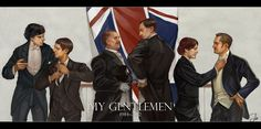 """My Gentlemen"" by lostconner -- L to R: BBC ""Sherlock"" (Benedict Cumberbatch and Martin Freeman), Granada ""Sherlock Holmes"" (David Hardwicke and Jeremy Brett), RDJ/Warner Bros ""Sherlock Holmes"" (Robert Downey Jr. and Jude Law).  Click to see larger image!"