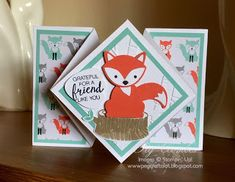 Stampin Up UK Demonstrator UK Pegcraftalot Order Stampin Up HERE: Diamond Fold Foxy Card