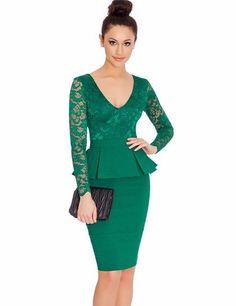 NEM065 Long sleeve peplum dress Deep V neck sexy lace dress plus size elegant wear to work bodycon dress hot Women mini dress